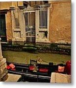 Venice Canal Gondola Awaits Metal Print