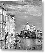 Venice Canal Grande Santa Maria Della Salute Black And White Metal Print