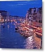 Venice - Canale Grande By Night Metal Print