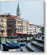 Venice Gondolas On Canal Grande Metal Print