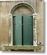Venice Green Shutters With Birds Metal Print