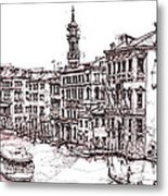 Venice In Pen And Ink Metal Print