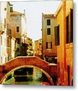 Venice Italy Canal With Boats And Laundry Metal Print