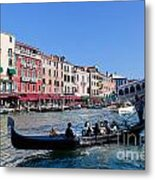 Venice Italy Gondola With Tourists Floats On Grand Canal Metal Print