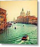 Venice Italy Grand Canal And Basilica Santa Maria Della Salute At Sunset Metal Print