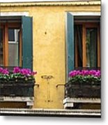 Venice Italy Teal Shutters Metal Print