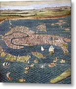 Venice: Map, 16th Century Metal Print