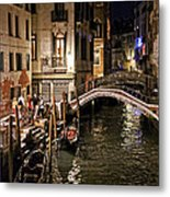 Venice Night By The Canal Metal Print