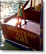 Venice Water Authority Boat Metal Print