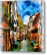 Venice Watercolor Metal Print
