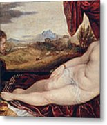 Venus With The Organ Player Metal Print