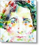 Vera Brittain - Watercolor Portrait Metal Print