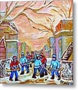 Verdun Back Lane Hockey Practice Montreal Winter City Scen Painting Carole Spandau Metal Print