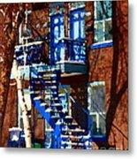 Verdun Duplex Stairs With Birch Tree Montreal Winding Staircases Winter City Scene Carole Spandau Metal Print