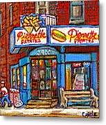 Verdun Famous Restaurant Pierrette Patates - Street Hockey Game At 3900 Rue Verdun - Carole Spandau Metal Print