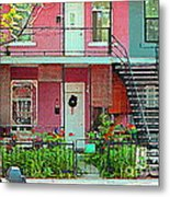 Verdun Flower Boxes Pink House Fenced Front Garden Red Flowers Staircase Scenes Carole Spandau Metal Print