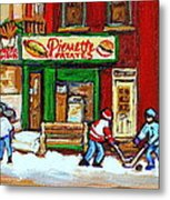 Verdun Hockey Game Corner Landmark Restaurant Depanneur Pierrette Patate Winter Montreal City Scen Metal Print by Carole Spandau