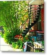 Verdun Stairs Red Flowers On Winding Staircase Tall Shade Tree Montreal Summer Scenes Carole Spandau Metal Print