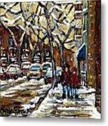 Verdun Winter Row Houses In January Montreal Paintings Time For A Walk Carole Spandau Metal Print