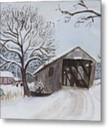 Vermont Covered Bridge In Winter Metal Print
