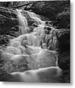 Vermont Forest Waterfall Black And White Metal Print