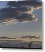 Vermont Grass Field Trees Clouds Adirondack Mountains New York Metal Print