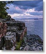 Vermont Lake Champlain Sunset Clouds Shoreline Metal Print