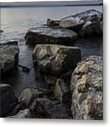 Vermont Lake Champlain Sunset Cloudscape Rocks Metal Print