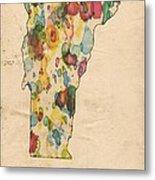 Vermont Map Vintage Watercolor Metal Print