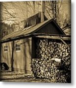 Vermont Maple Sugar Shack Circa 1954 Metal Print by Edward Fielding