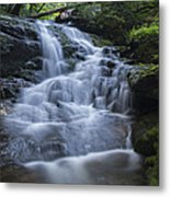 Vermont New England Waterfall Green Trees Forest Metal Print
