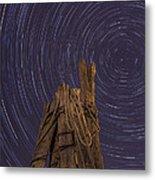 Vermont Night Star Trail Wood Pier Metal Print