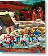 Vermont Pond Hockey Scene Metal Print by Carole Spandau