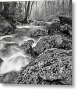 Vermont River Fog Mount Mansfield Black And White Metal Print