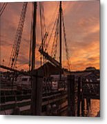 Vermont Sunrise Boats Pier Lake Champlain Metal Print