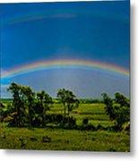 Vernon Marsh Double Rainbow Metal Print by Randy Scherkenbach