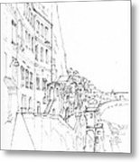 Vertical Amalfi Pencil And Ink Sketch Metal Print