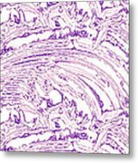 Vertical Panoramic Grunge Etching Purple Color Metal Print