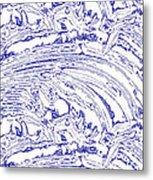 Vertical Panoramic Grunge Etching Royal Blue Color Metal Print