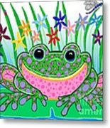 Very Happy Spotted Frog Metal Print by Nick Gustafson