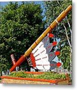 Very Large Pipestone Pipe Sculpture By Former Rock Island Line Railroad Depot In Pipestone-minnesota Metal Print