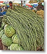 Very Long String Beans In Mangal Bazaar In Patan-nepal Metal Print
