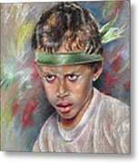 Very Young Maori Warrior From Tahiti Metal Print