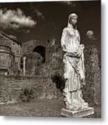 Vestal Virgin Courtyard Statue Metal Print