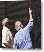 Veterans Look For A Fallen Soldier's Name On The Vietnam War Memorial Wall Metal Print