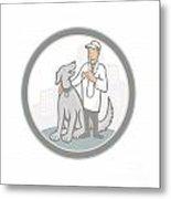 Veterinarian Vet With Pet Dog Cartoon Metal Print