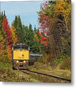 Fall Colours With Train Metal Print