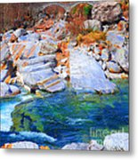 Vibrant Colored Rocks Verzasca Valley Switzerland II Metal Print