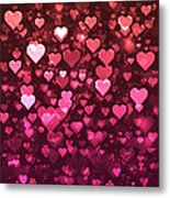 Vibrant Pink And Red Bokeh Hearts Metal Print