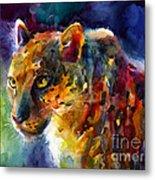Vibrant Watercolor Leopard Wildlife Painting Metal Print